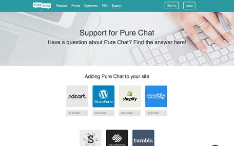 Screenshot of Support Page purechat.com - Support and Help Articles for Live Chat Software - captured March 31, 2016