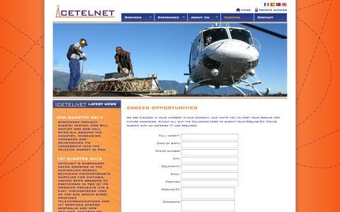Screenshot of Jobs Page cetelnet.com - CETELNET Expert communications infrastructure and technology solutions supplier - captured Oct. 2, 2014