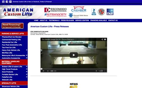 Screenshot of Testimonials Page aclifts.com - Automotive Parking Lifts Press Releases - captured Oct. 4, 2014