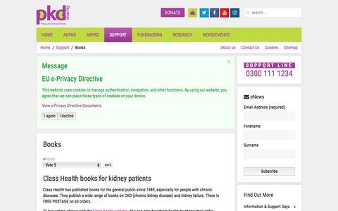 Screenshot of Support Page pkdcharity.org.uk - Books - captured July 27, 2017