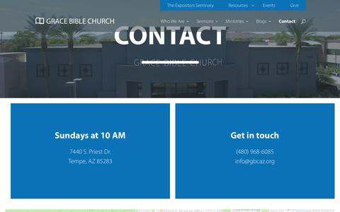 Screenshot of Contact Page gbcaz.org - Contact - Grace Bible Church - captured Sept. 30, 2018