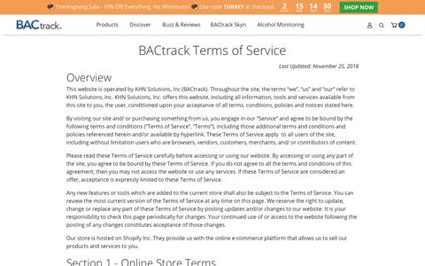 Screenshot of Terms Page bactrack.com - Terms of Service - captured Nov. 26, 2019