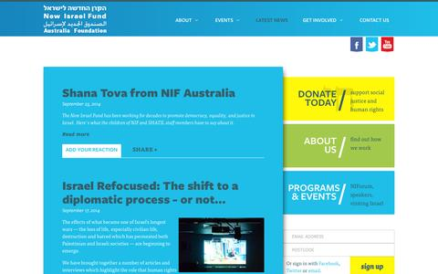 Screenshot of Blog nif.org.au - Latest News - New Israel Fund Australia - captured Oct. 6, 2014