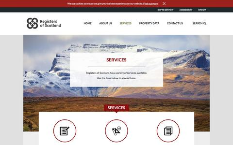 Screenshot of Services Page ros.gov.uk - Services - Registers of Scotland - captured Sept. 3, 2016
