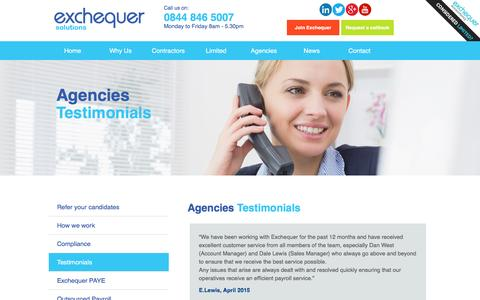 Screenshot of Testimonials Page exchequersolutions.co.uk - Testimonials - Umbrella Company   Exchequer Solutions - captured July 17, 2016