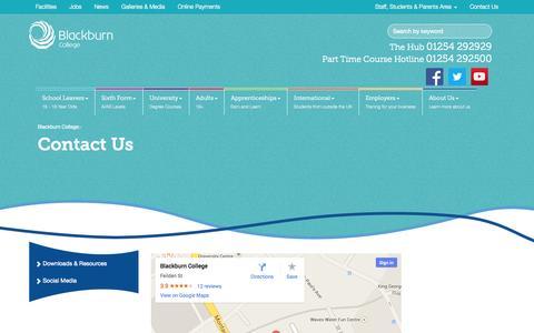Screenshot of Contact Page blackburn.ac.uk - Contact Us - Blackburn College - captured Sept. 22, 2014