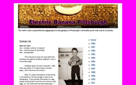 Screenshot of Contact Page electricbananaclub.net - Electric Banana Pittsburgh: Contact Us - captured March 11, 2016