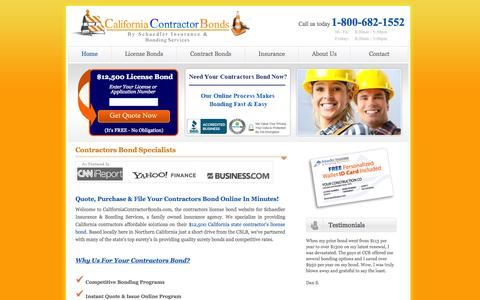 Screenshot of Home Page californiacontractorbonds.com - Contractors Bond | California Contractor Bonds - captured Jan. 17, 2015