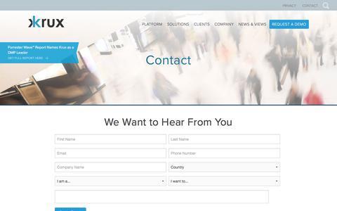 Screenshot of Contact Page krux.com - Contact Us | Krux - captured Sept. 9, 2016