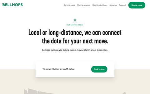 Screenshot of Locations Page getbellhops.com - Moving Service Areas: Find Movers Near You | Bellhops - captured Nov. 1, 2018