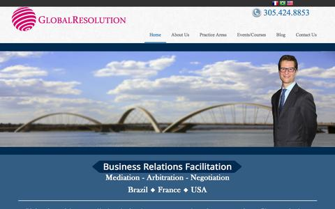 Screenshot of Home Page global-resolution.com - Business & Commercial Mediation and Arbitration, Global Resolution - captured Dec. 10, 2015