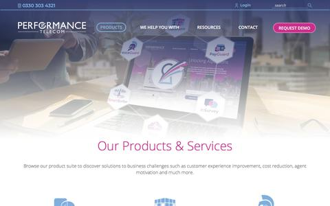 Screenshot of Products Page performancetelecom.co.uk - Product & Services | Performance Telecom - captured July 17, 2018