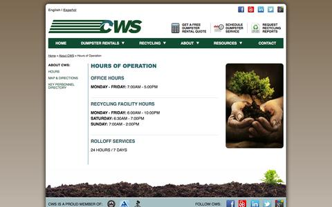 Screenshot of Hours Page californiawasteservices.com - Operating Hours for Los Angeles California Waste Services Construction and Demolition Recycling and Inert Waste Disposal - captured Sept. 27, 2014