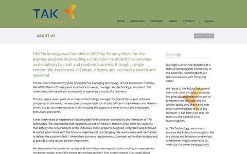 Screenshot of About Page taktechnology.com - TAK Technology   – About Us - captured Nov. 3, 2017