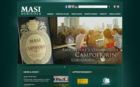 Screenshot of Home Page masi.it - Masi Agricola - captured Sept. 25, 2014