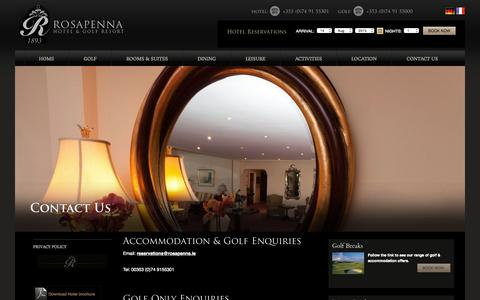 Screenshot of Contact Page rosapenna.ie - Hotel in Donegal, Golf Hotels Donegal, Donegal Hotel, Luxury Hotels in Donegal, 4 Star Hotel Donegal, Hotel Donegal - captured Aug. 14, 2015