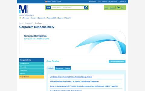 Screenshot of Case Studies Page emdmillipore.com - Case Studies | Responsibility | EMD Millipore - captured Oct. 28, 2016