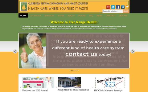Screenshot of Home Page freerangehealth.org - Free Range Health | Health care where you need it most! - captured Sept. 30, 2014