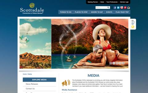 Screenshot of Press Page experiencescottsdale.com - Media   | Official Travel Site for Scottsdale, Arizona - captured Sept. 22, 2014