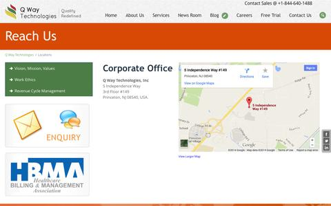 Screenshot of Locations Page qwaytechnologies.com - Healthcare Solutions | Healthcare Revenue Cycle | Health Care Billing - captured Oct. 10, 2014