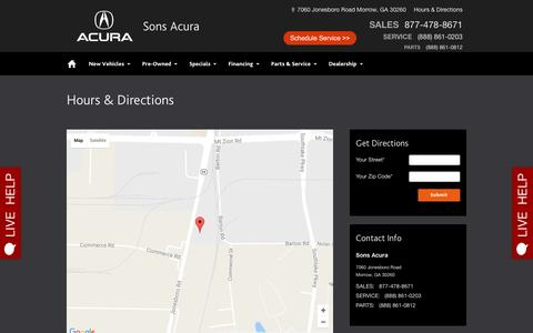 Screenshot of Maps & Directions Page sonsacura.com - Sons Acura | New Acura dealership in Morrow, GA 30260 - captured Dec. 1, 2016