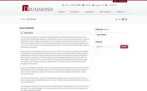 Screenshot of Case Studies Page drummondcpallc.com - Business Accounting Video Tutorials - captured Sept. 30, 2014