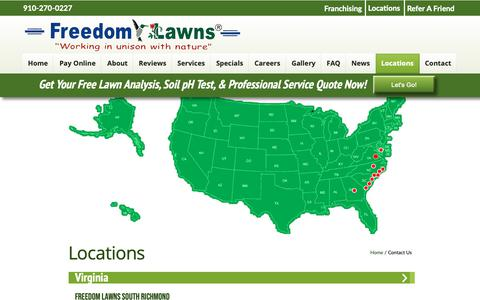 Screenshot of Locations Page freedomlawnsnc.com - Freedom Lawns of Pender - captured Oct. 11, 2018