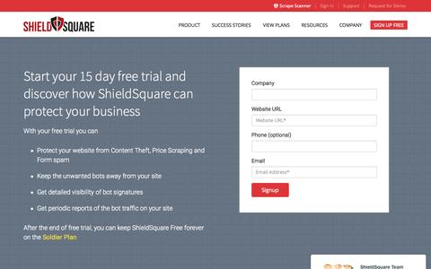 Screenshot of Signup Page shieldsquare.com - Sign up for Anti Scraping Solution ShieldSquare and block bots - captured Nov. 18, 2015