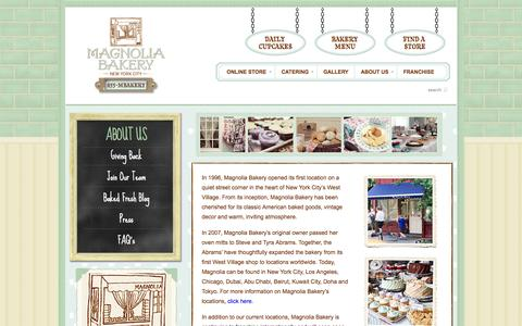 Screenshot of About Page magnoliabakery.com - About Us - Magnolia Bakery - captured Sept. 23, 2014