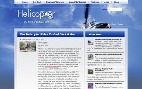 Screenshot of Press Page helicopter.com - New Helicopter Rules Pushed Back A Year | Helicopter.com - captured Oct. 2, 2014