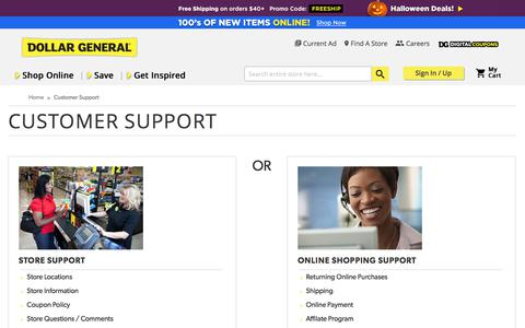 Screenshot of Support Page dollargeneral.com - Online Shopping and Store Support for Dollar General - captured Oct. 8, 2017