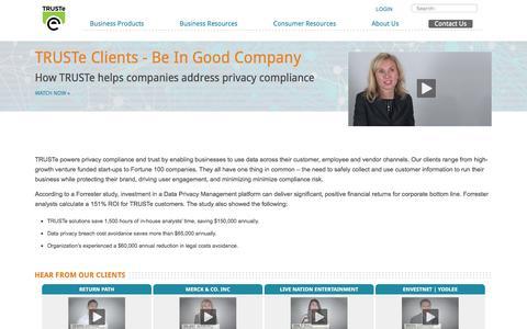 Screenshot of Testimonials Page truste.com - Customer Success Stories - TRUSTe - captured July 3, 2016