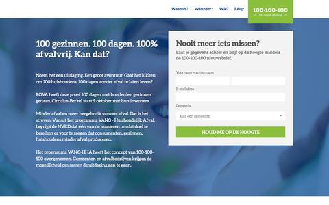 Screenshot of Home Page 100-100-100.nl - 100 gezinnen. 100 dagen. 100% afvalvrij. Kan dat? - captured Sept. 18, 2015