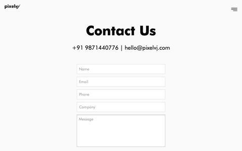 Screenshot of Contact Page pixelvj.com - Branding | UI/UX Agency in Delhi | Creative Digital Agency - captured Sept. 28, 2018