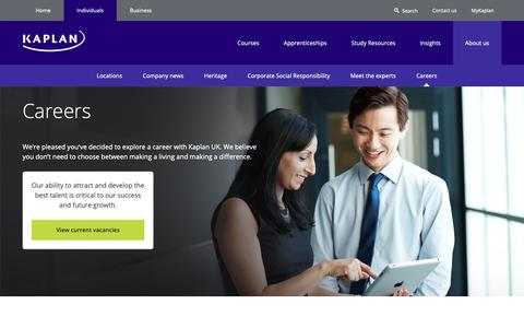 Screenshot of Jobs Page kaplan.co.uk - Careers | Kaplan - captured Oct. 15, 2018