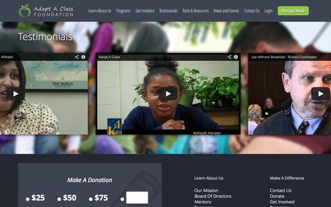Screenshot of Testimonials Page aacfoundation.com - Testimonials » Adopt A Class Foundation | AAC Foundation Cincinnati - captured Nov. 6, 2014