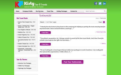 Screenshot of Testimonials Page kirtytours.com - Testimonials - Kirty Tours & Travels - captured Oct. 15, 2018