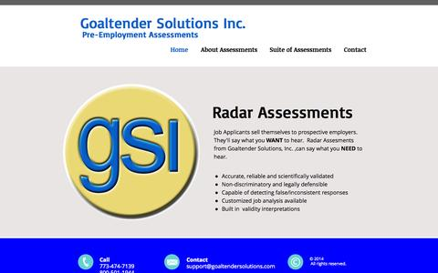 Screenshot of Home Page goaltendersolutions.com - newgsi - captured Oct. 2, 2014