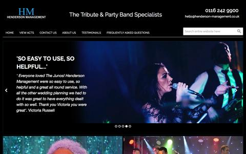 Screenshot of Home Page henderson-management.co.uk - Henderson Management - The Tribute & Party Band Specialists - captured May 17, 2017