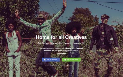 Screenshot of Home Page talenthouse.com - Talenthouse - captured Jan. 17, 2016
