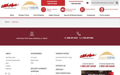 Screenshot of Services Page altamere.com - Services - Alta Mere w/ Smartview - captured July 29, 2018