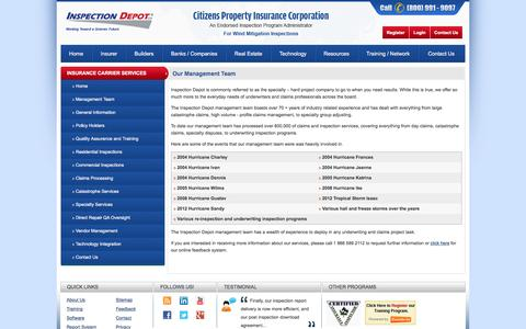 Screenshot of Team Page inspectiondepot.com - Insurer   Management   Insurance Inspection   Insurance claims - Inspection Depot Inc Đ Jacksonville - captured Jan. 8, 2016