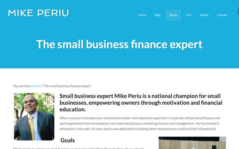 Screenshot of About Page periu.com - The small business finance expert - captured Sept. 27, 2018