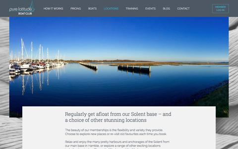 Screenshot of Locations Page purelatitude.com - Boat Club Locations – UK and Sardinia | Pure Latitude - captured July 24, 2018