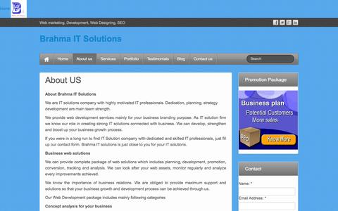 Screenshot of About Page brahmaitsolutions.com - About US - Brahma IT Solutions - captured Sept. 30, 2014