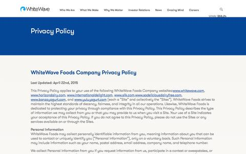 Screenshot of Privacy Page whitewave.com - WhiteWave Foods - captured Aug. 26, 2016