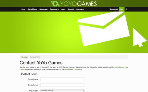 Screenshot of Contact Page yoyogames.com - Contact YoYo | Company | YoYo Games - captured Sept. 18, 2014