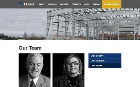 Screenshot of Team Page ferrobuildings.com - Metal Buildings Canada, Steel Buildings for Sale | Team | Ferro - captured Oct. 10, 2018