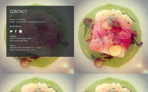 Screenshot of Contact Page cornertablerestaurant.com - CONTACT - captured Nov. 2, 2014