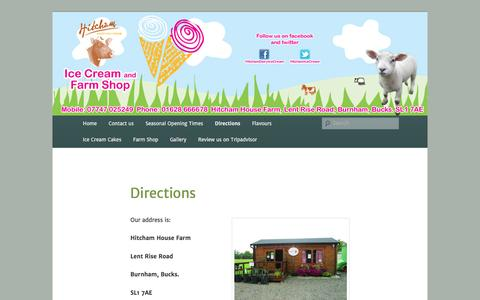 Screenshot of Maps & Directions Page hitchamdairyicecream.com - Directions | Hitcham Dairy Ice Cream - captured July 14, 2016